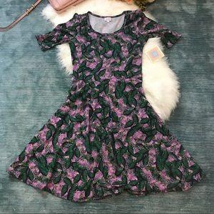 NWT LulaRoe Green & Purple Leaf Print Nicole Dress